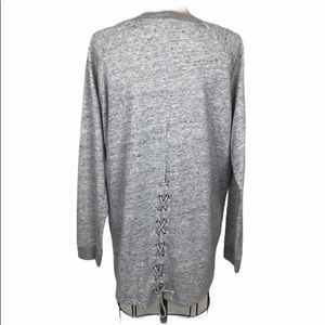 Michael Lauren Heathered lace up back sweatshirt